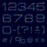 Festive Nombers And Symbols Of Bright Color Stars. Vector numbers and symbols made of bright coloured stars. Cosmic and festive type for headlines, titles Stock Image