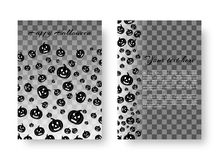 Festive notebook with pumpkins for Halloween. Design of a greeting card with flying black scary pumpkins for festive decoration for Halloween Royalty Free Stock Photography