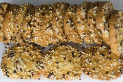Festive oat cookies with sesame Stock Photos