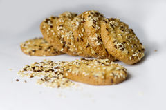 Festive oat cookies with sesame Stock Photo