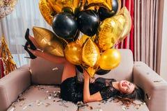 Festive occasion happy brunette girl balloons stock photos