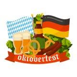 Festive Oktoberfest Banner. Oktoberfest celebration  poster. Oktoberfest  text. Beer Oktoberfest German festival keg of beer, bottle beer. Festive Oktoberfest Royalty Free Stock Image
