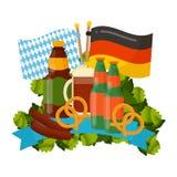 Festive Oktoberfest Banner. Oktoberfest celebration  poster. Oktoberfest  text. Beer Oktoberfest German festival keg of beer, bottle beer. Festive Oktoberfest Stock Image
