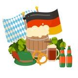 Festive Oktoberfest Banner. Oktoberfest celebration  poster. Oktoberfest  text. Beer Oktoberfest German festival keg of beer, bottle beer. Festive Oktoberfest Stock Photography