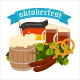 Festive Oktoberfest Banner vector. Oktoberfest celebration vector poster. Oktoberfest vector text. Beer Oktoberfest German festival keg of beer, bottle beer Royalty Free Stock Image