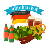 Festive Oktoberfest Banner vector. Oktoberfest celebration vector poster. Oktoberfest vector text. Beer Oktoberfest German festival keg of beer, bottle beer Stock Image