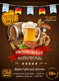 Festive Oktoberfest Poster. With beer barrel sausages wheat mug and party flags on wooden background vector illustration Royalty Free Stock Photo