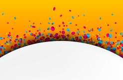 Orange background with colorful confetti. Festive orange background with colorful glossy confetti. Vector paper illustration Royalty Free Stock Images