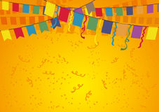 Festive orange background. Festive orange background with flags and confetti Stock Photos