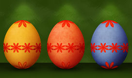 Festive Orange, Blue & Yellow Retro Easter Eggs Stock Image