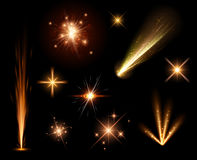 Festive orange firework set. Festive orange firework set isolated on black background. Vector illustration Stock Photo
