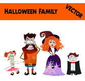 Festive Orange October Vector Halloween Family Illustration. With Father, Mother, Daughter and Son Wearing Halloween Costumes: Zombie, Vampire, Witch, Ghost Royalty Free Stock Photo