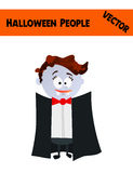 Festive Orange October Vector Halloween People Illustration. With a Kid Wearing Halloween Vampire Costume: Black Coat, Vampire Teeth, Red Bow, Blue Skin and Stock Image