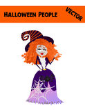 Festive Orange October Vector Halloween Woman Illustration. With a Wife Wearing Halloween Witch Costume: Funny Witch Hat, Fancy Dress, Spider, Blue Skin Royalty Free Stock Photos