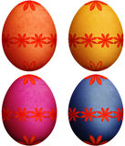 Festive Orange, Purple, Blue & Yellow Easter Eggs Royalty Free Stock Photography