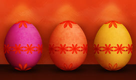 Festive Orange Purple Yellow Easter Eggs Stock Images