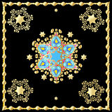 Festive oriental carpet. Gold Stars of David ornament. For Wedding day Holiday Art, web, print, wallpaper, greeting card, textile, fashion, fabric, texture Royalty Free Stock Photos