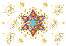 Festive oriental ornament. Gold Stars of David on white background. Pattern For Wedding day Holiday Art, web, print, wallpaper, greeting card, textile, fashion Royalty Free Stock Photography