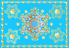 Festive oriental pattern. Gold Stars of David ornament. For Wedding day Holiday Art, web, print, wallpaper, greeting card, textile, fashion, fabric, texture Stock Photos