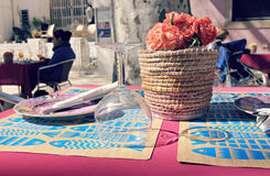 Festive Outdoor European Table Setting Stock Photo
