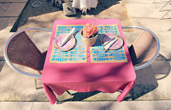 Festive Outdoor European Table Setting Stock Images