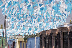 Festive overhead street decoration Royalty Free Stock Photo