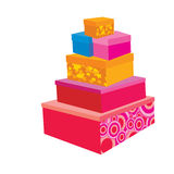 Festive packaging boxes. Holiday boxes for packing different colors, some with boxes patterned exposed in a pyramid Stock Photo