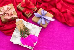 Festive Packaging Gift Boxes Decorated With Satin Ribbon Bow. Stock Photography