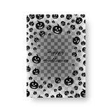 Festive pamphlet with pumpkins for Halloween. Invitation model for halloween with flying black silhouettes of pumpkins for festive decoration Royalty Free Stock Image