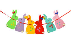 Festive, paper rabbits isolated on a white background. Royalty Free Stock Photo