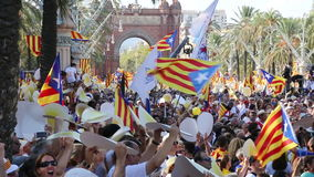 Festive parade on day of Catalonia. BARCELONA, SPAIN – SEPTEMBER 11, 2016: festive parade on day of Catalonia with national flags