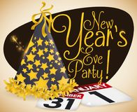 Starry Party Hat, Calendars and Fireworks for New Year,. Festive party hat decorated with golden stars and fringes, loose-leaf calendar papers and fireworks Stock Photography