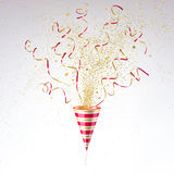 Festive Party Popper with Gold Confetti Royalty Free Stock Photos