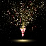 Festive Party Popper with Gold Confetti and Serpentine Royalty Free Stock Photography