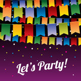 Festive party vector background with hanging bunting flags. Decoration celebration color flag to party illustration Stock Photo
