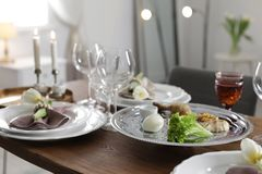 Festive Passover table setting at home. stock images