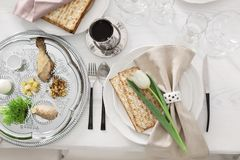 Festive Passover table setting, top view. stock image
