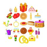 Festive pastime icons set, cartoon style. Festive pastime icons set. Cartoon set of 25 festive pastime vector icons for web isolated on white background Royalty Free Stock Photo