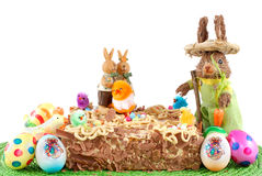 Festive pastry, decorated easter tart Royalty Free Stock Images