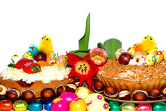 Festive pastry, easter tart and tulips Stock Images