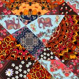 Festive patchwork pattern from bright patches with cute animals,  flower - mandala and abstract tracery. Vector illustration. Print for fabric, paper Royalty Free Stock Photos