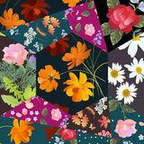 Festive patchwork pattern with cosmos, rose, daisy and bell flowers. Colorful quilt design. Floral plaid Stock Photo