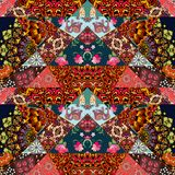 Festive patchwork pattern in ethnic style with flower - mandala. Mallow, rose, house, elephant and abstract prints. Bright illustration. Hippie design. Blanket Royalty Free Stock Photo