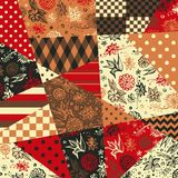 Festive patchwork pattern in ethnic style with flowers and abstract geometric prints. Royalty Free Stock Image