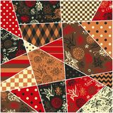Festive patchwork pattern with flowers and abstract geometric prints. Royalty Free Stock Photography