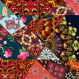 Festive patchwork pattern in indian style with flower - mandala, mallow, rose, house, elephant and abstract prints. Bright vector illustration. Hippie design Royalty Free Stock Images