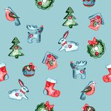Festive pattern with baby animals and Christmas attributes stock illustration