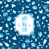 Festive pattern Happy New Year. Christmas seamless vector pattern blue Royalty Free Stock Photography