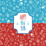 Festive pattern Happy New Year. Christmas seamless vector pattern red and blue Stock Images