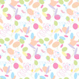 Festive pattern of multi-colored candy. Seamless festive pattern, multi-colored confetti on a white background,  illustration Royalty Free Stock Images